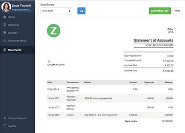 Zoho Invoice - client portal