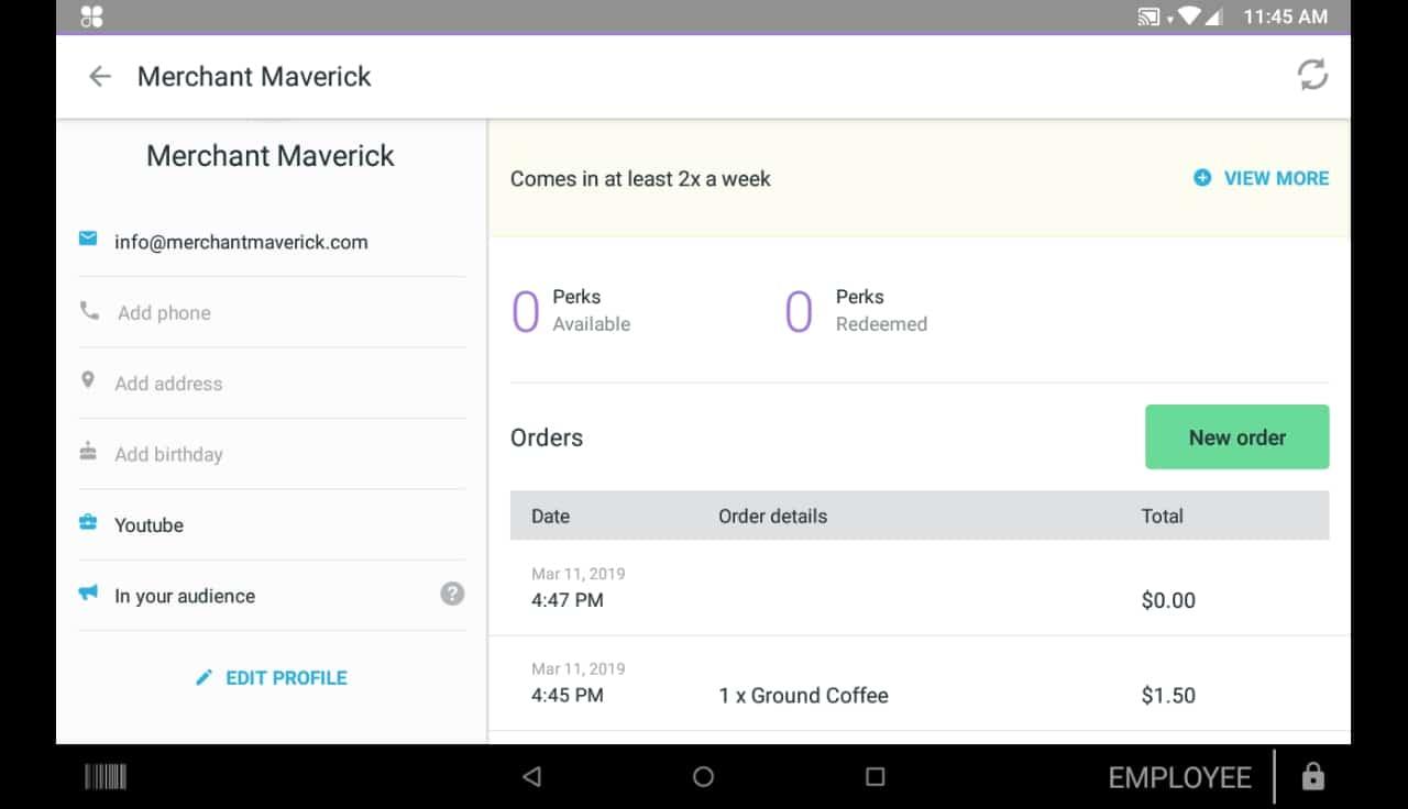 clover mini screenshot of customer profile