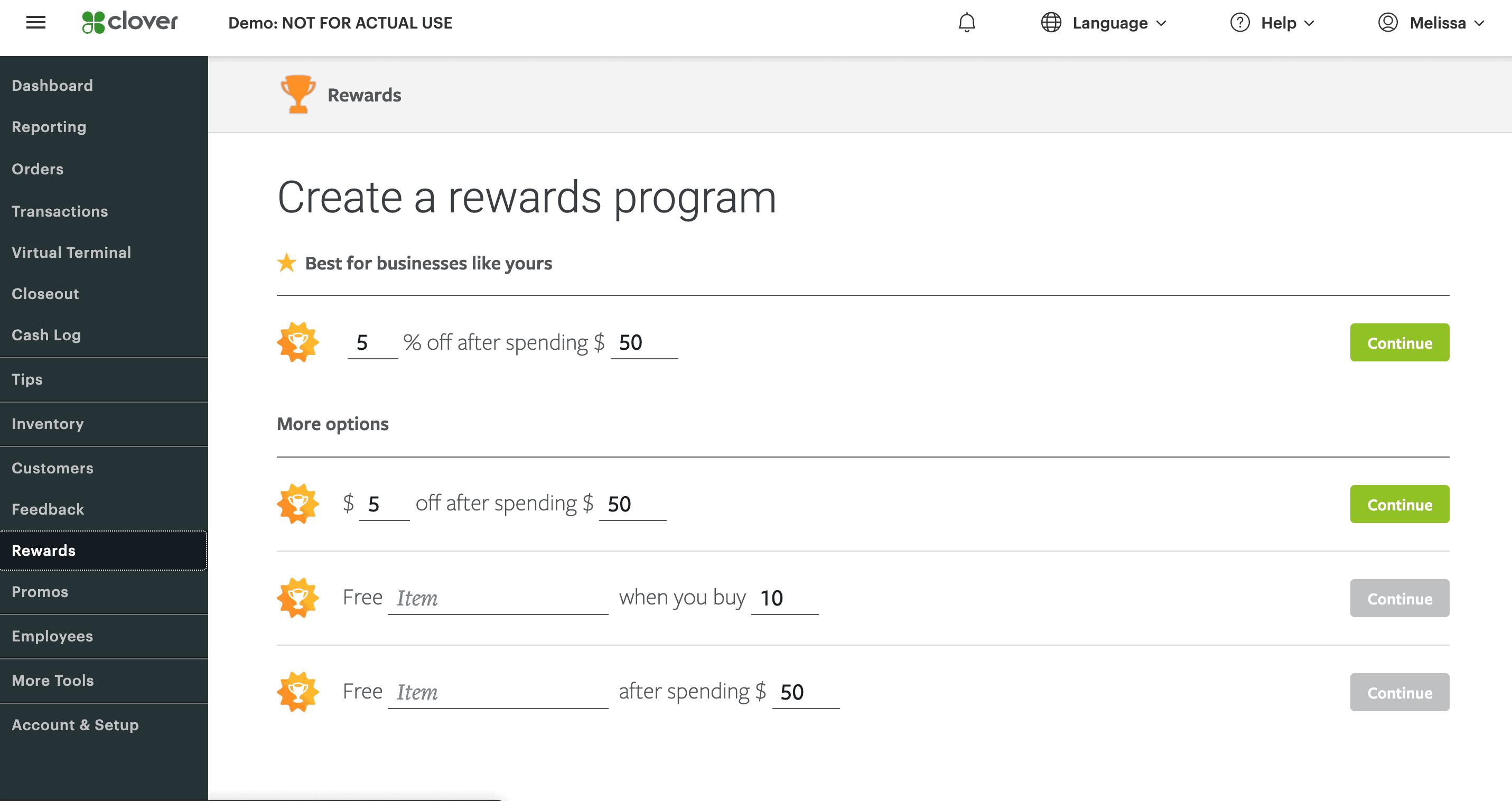 clover web dashboard rewards program screen