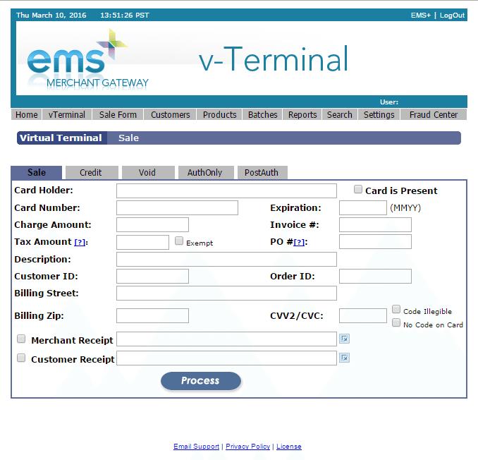 EMSplus Screen Shot (v-Terminal)