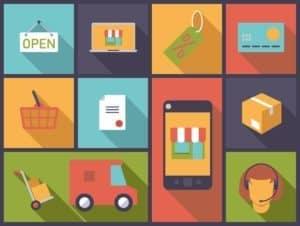 Ecommerce symbols. Flat design vector illustration with ecommerce and online shopping symbols