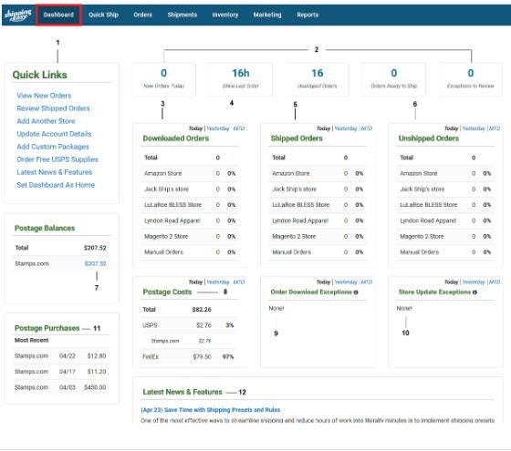 Screengrab of ShippingEasy dashboard