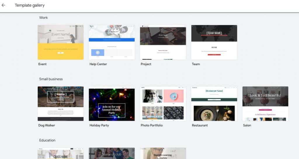 google sites website builder