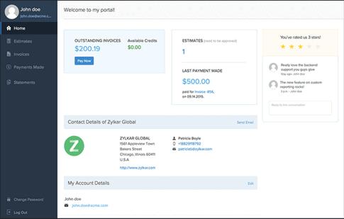 Zoho Books - client portal