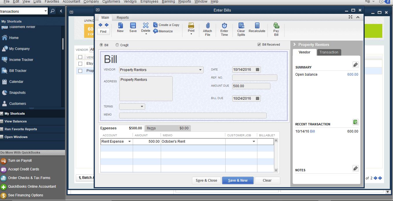 QuickBooks Pro - bill