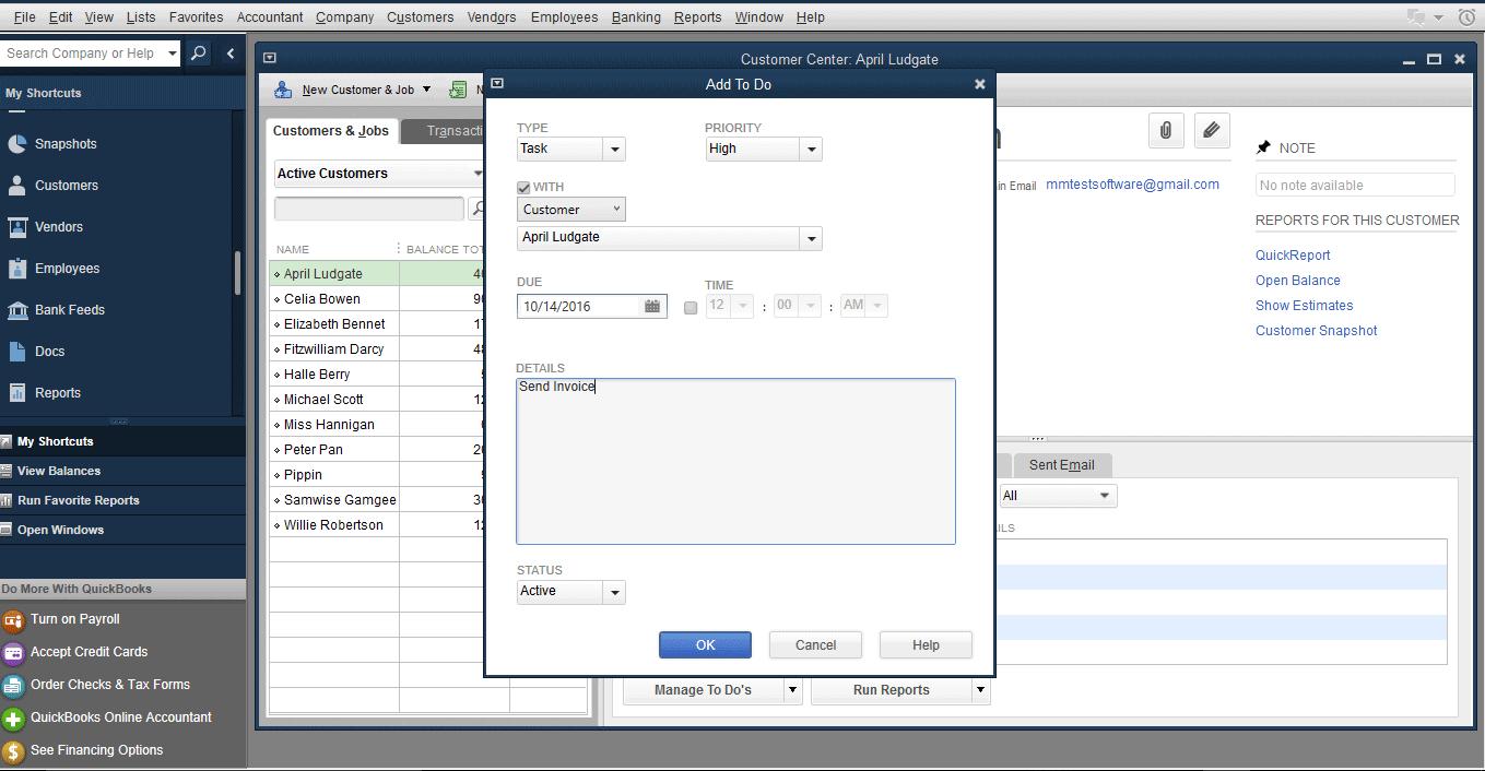 QuickBooks Pro - to-do lists