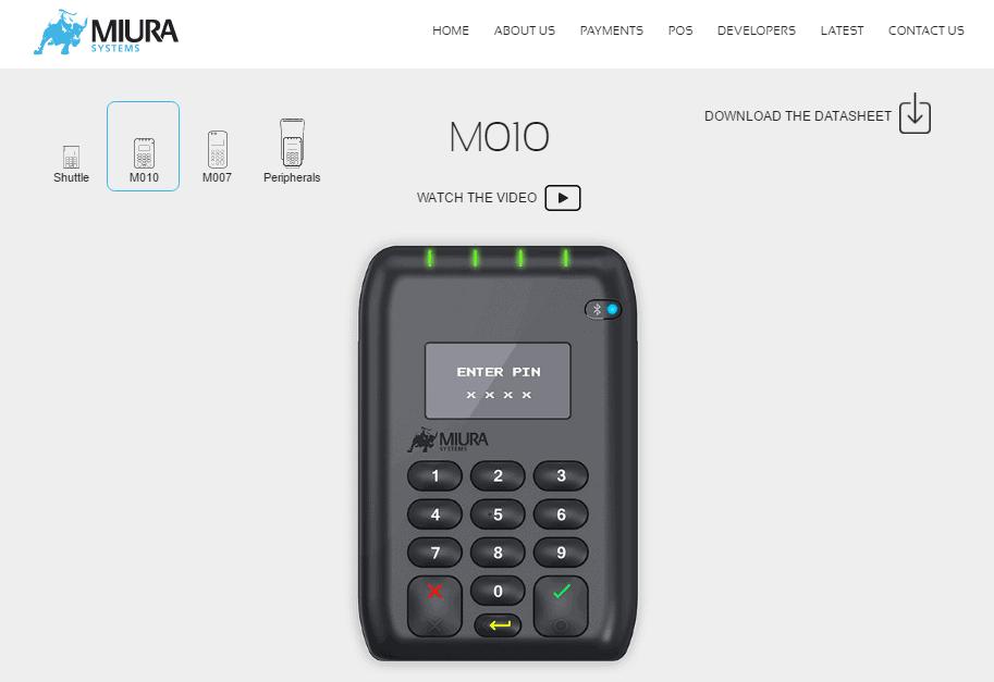 Screenshot of the Miura website
