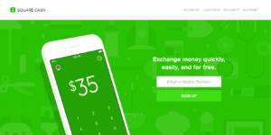 Square Cash website screenshot
