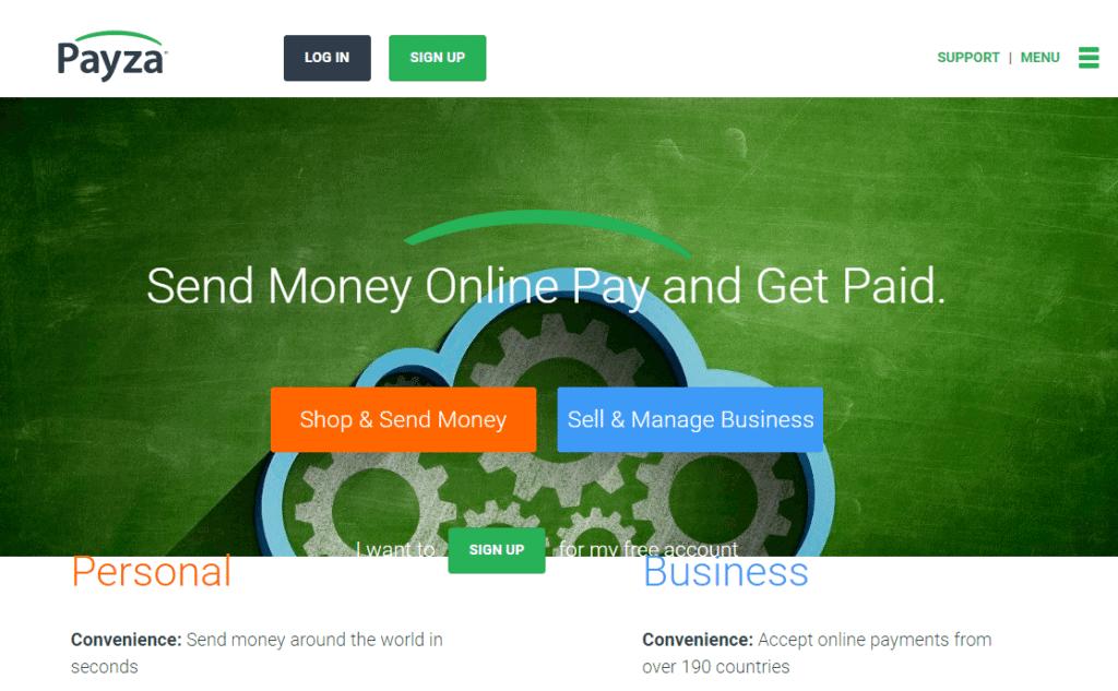 Screenshot of Payza.com home page