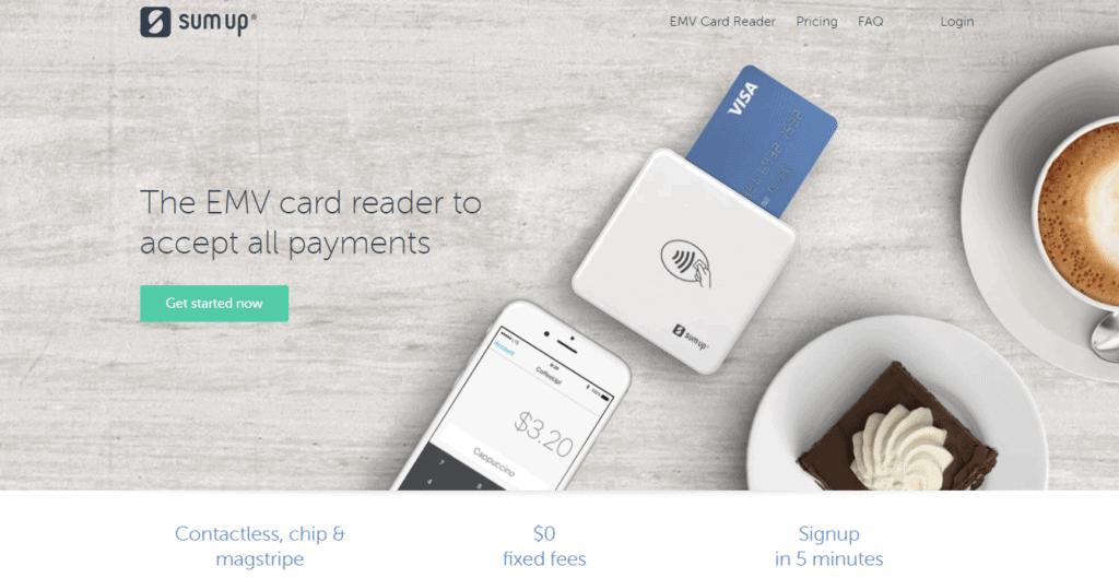 SumUp home page screenshot
