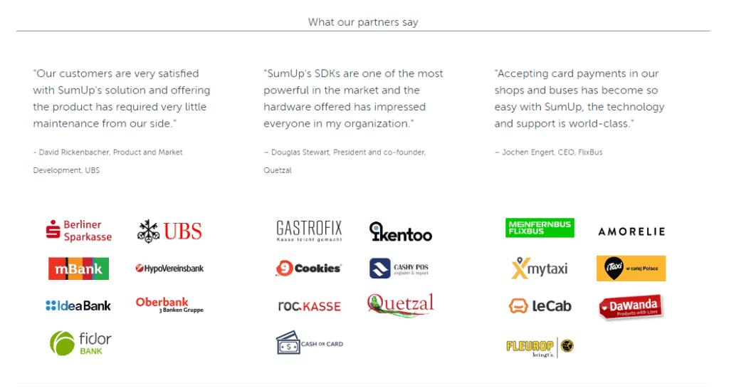 Screenshot of SumUp Partners page