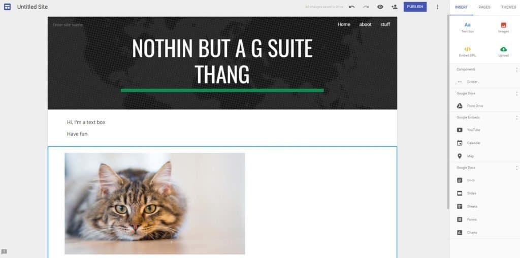 Google Sites dashboard