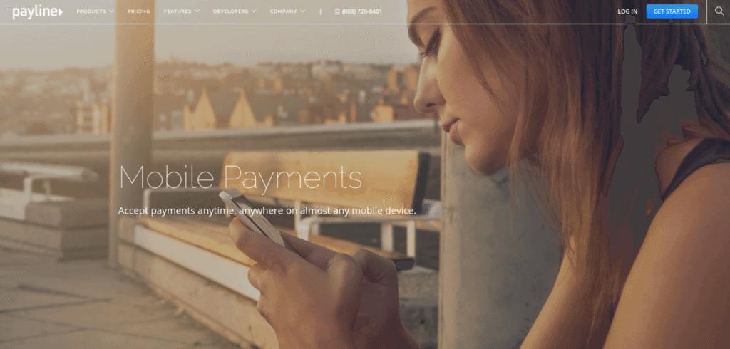 Screenshot of Payline Mobile landing page