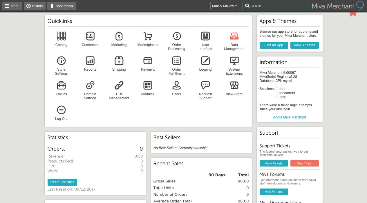 miva merchant dashboard