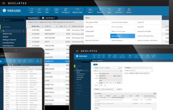 Screengrab of ShipRush dashboard, on multiple screens