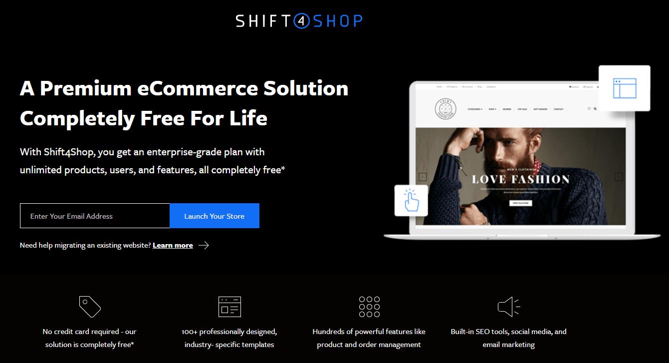 Screengrab of Shift4Shop web page