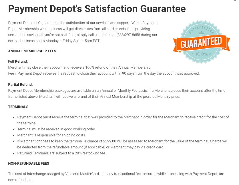 Payment Depot Review - Satisfaction Guarantee