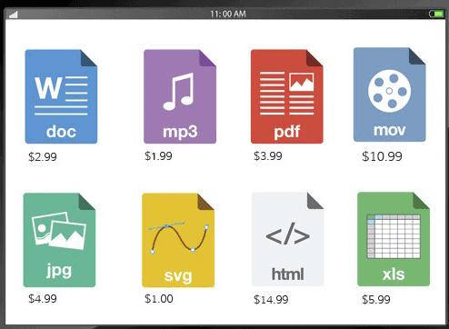 Screengrab of Shift4Shop digital download formats