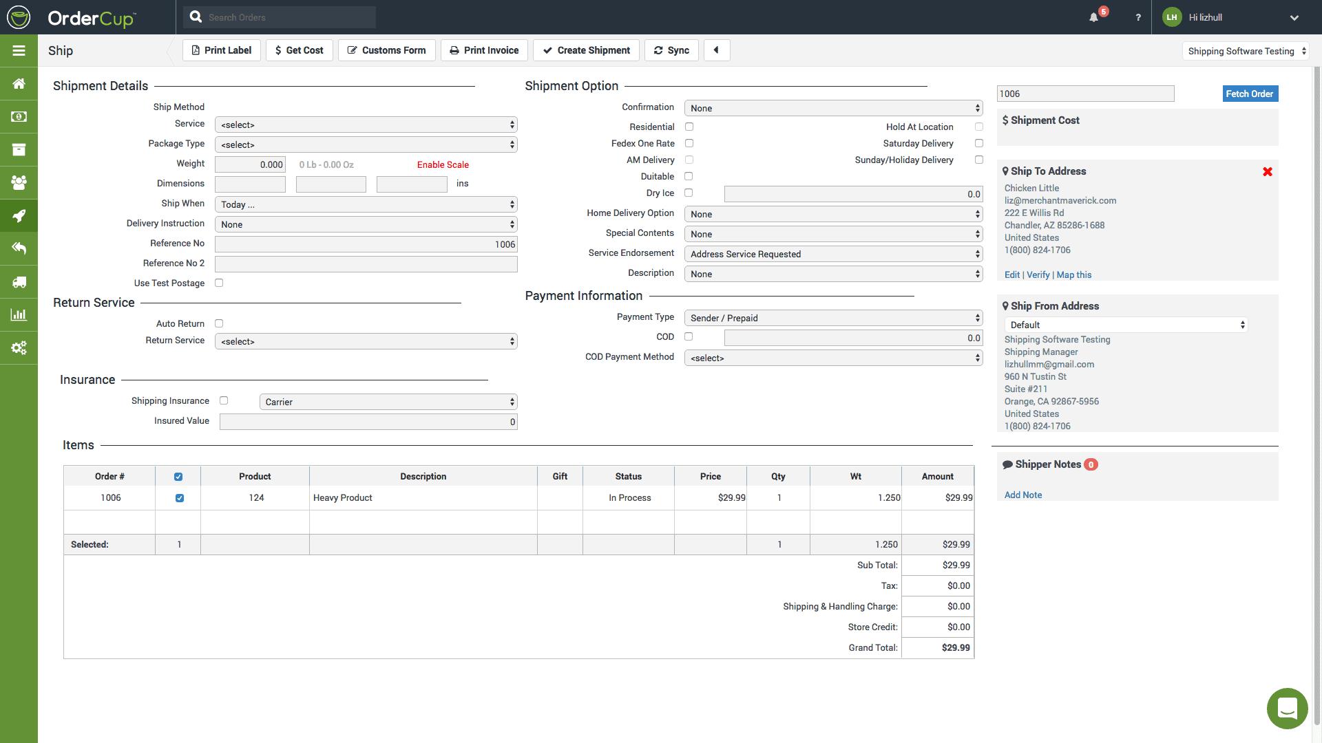 Screengrab of OrderCup order processing page