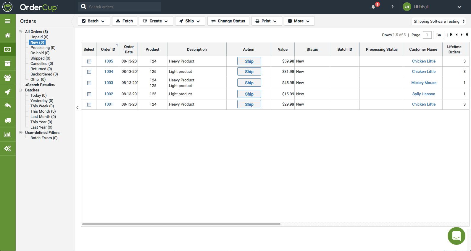 Screengrab of OrderCup admin panel