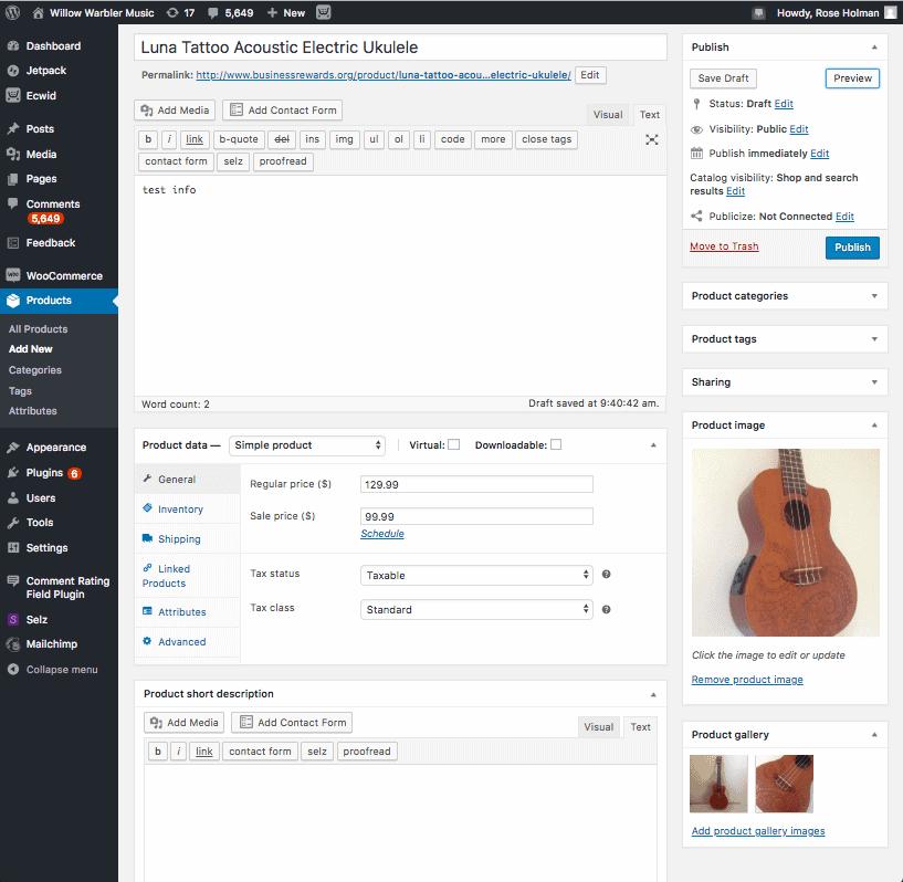 WooCommerce dashboard