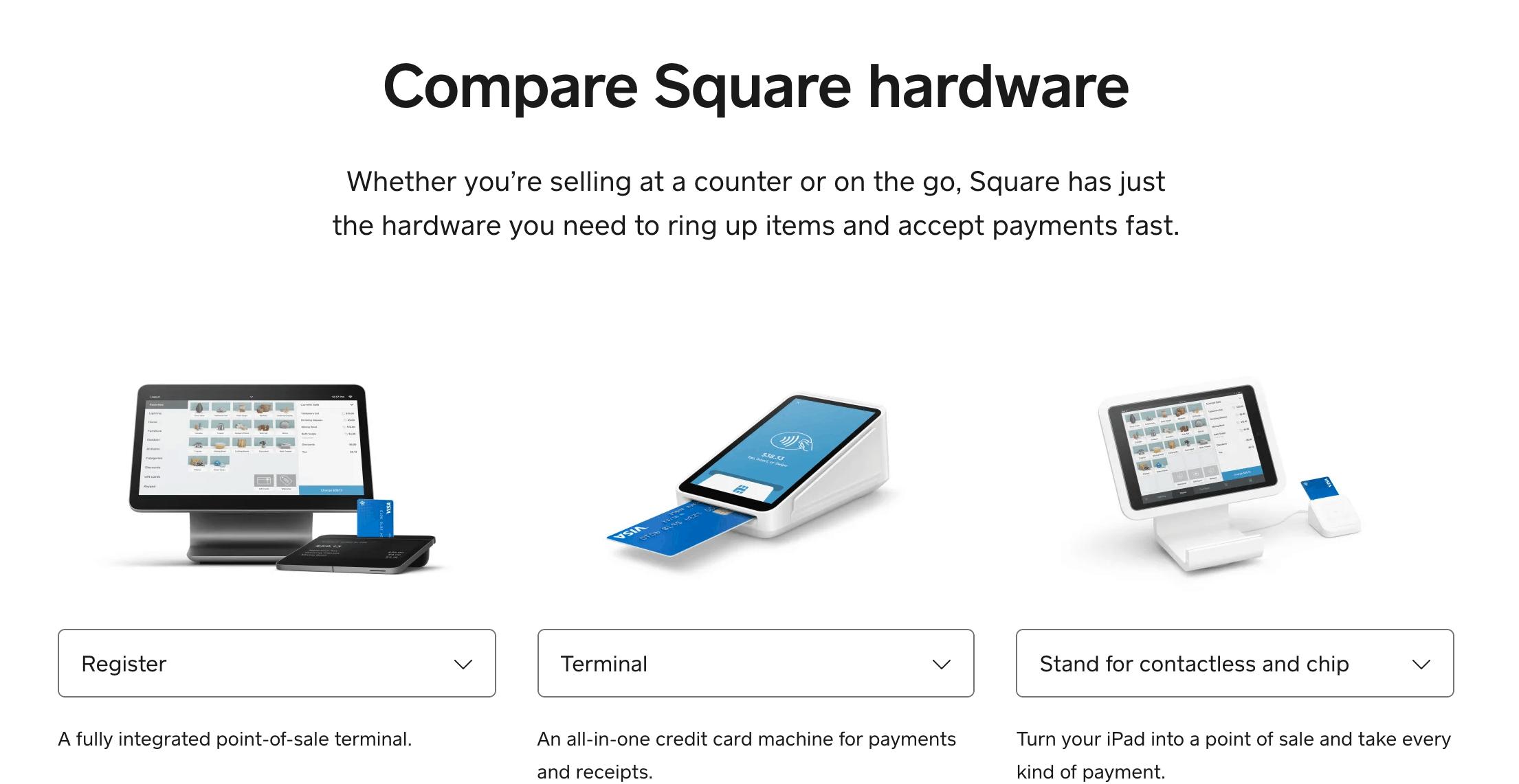 Square hardware comparison