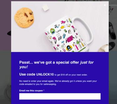 Screengrab of Drip email form