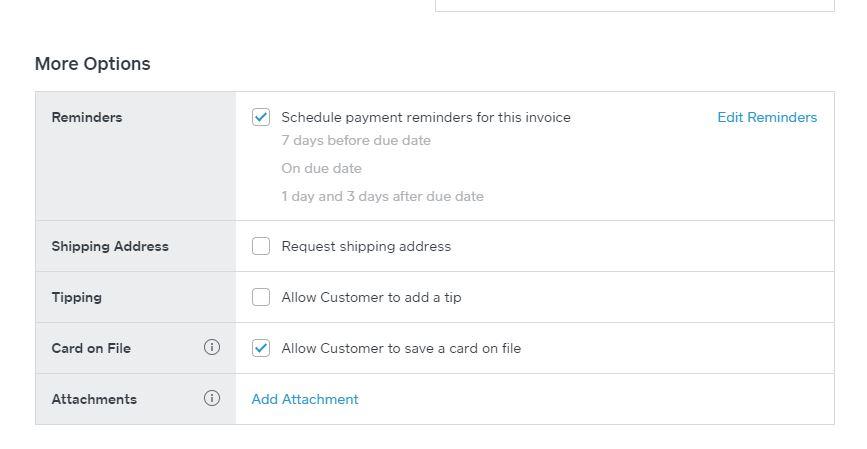 Square Invoice Options