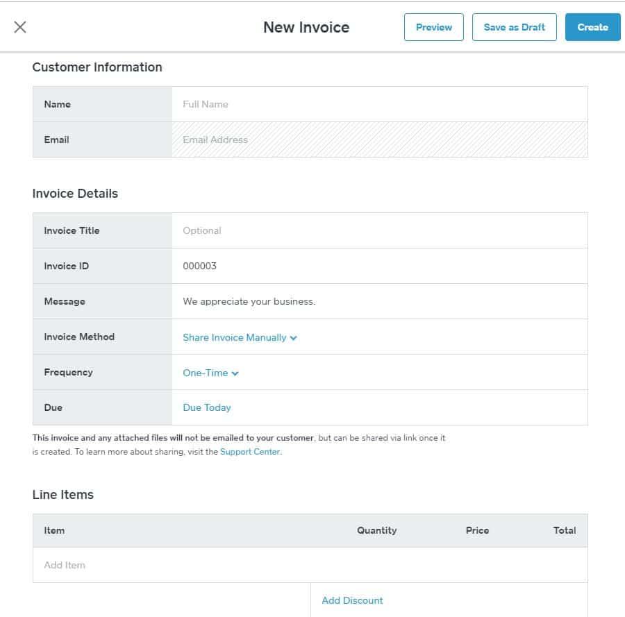 Screenshot of Square Invoice