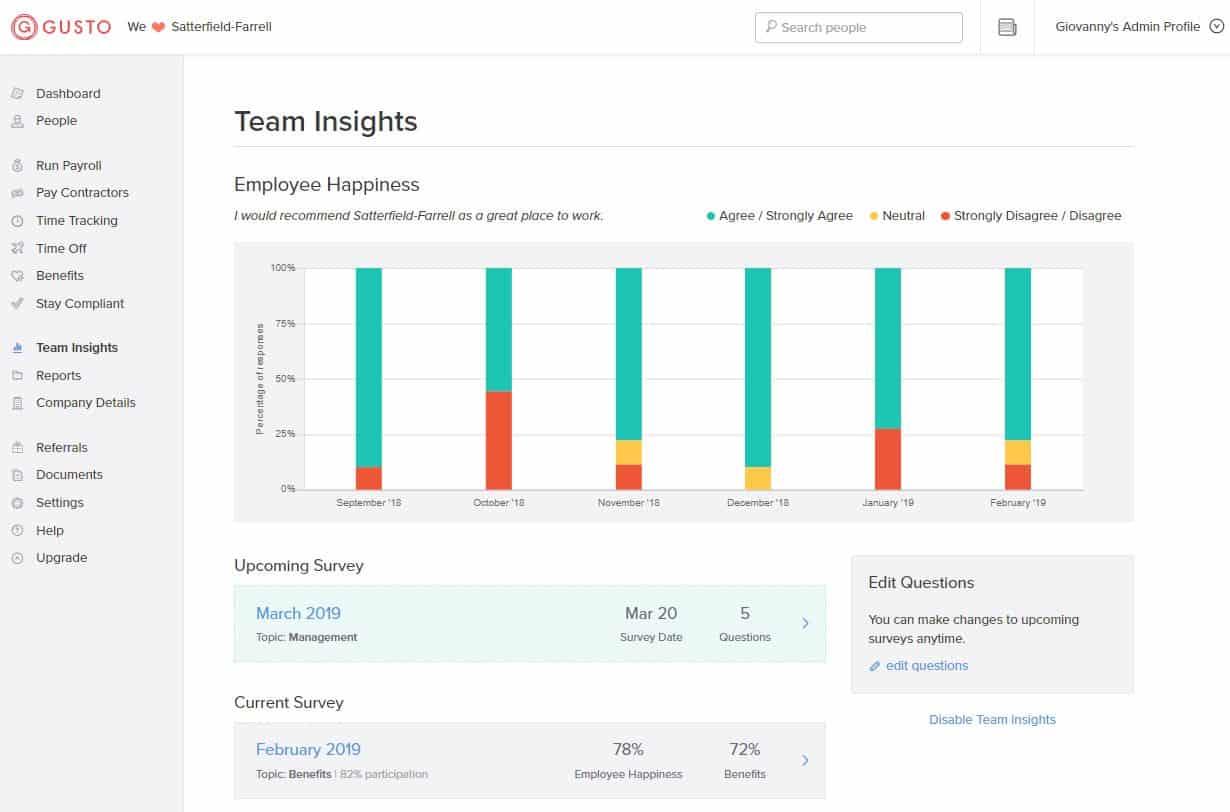 Gusto team survey