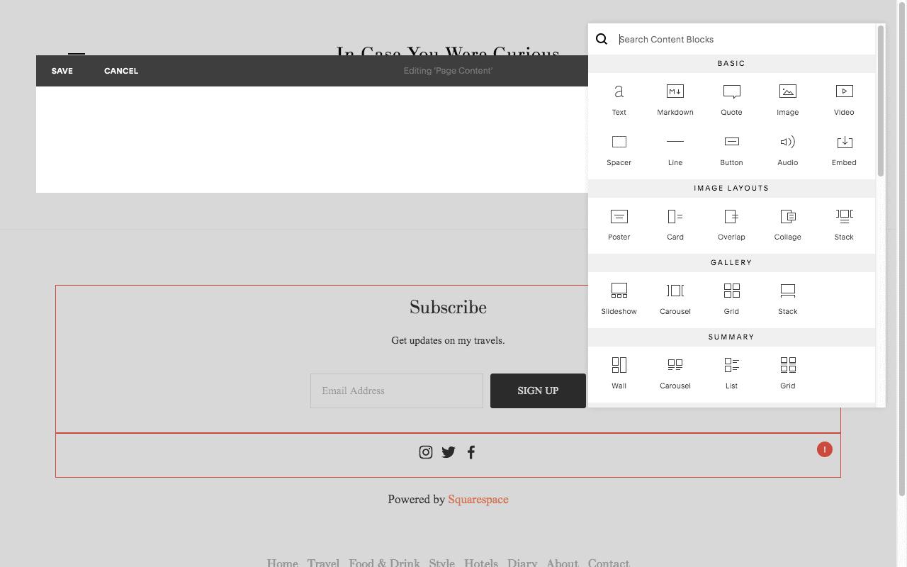 squarespace web editor