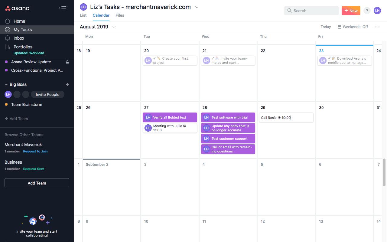 asana task calendar