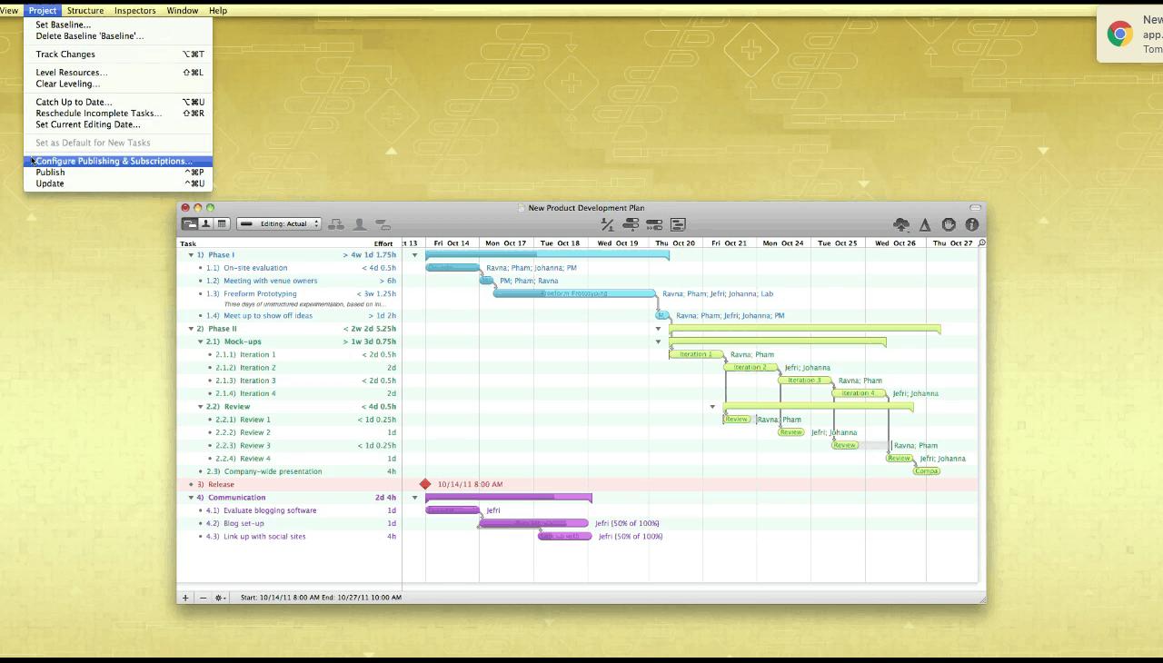 Omniplan dashboard on a yellow dashboard. Dashboard features a Gantt chart