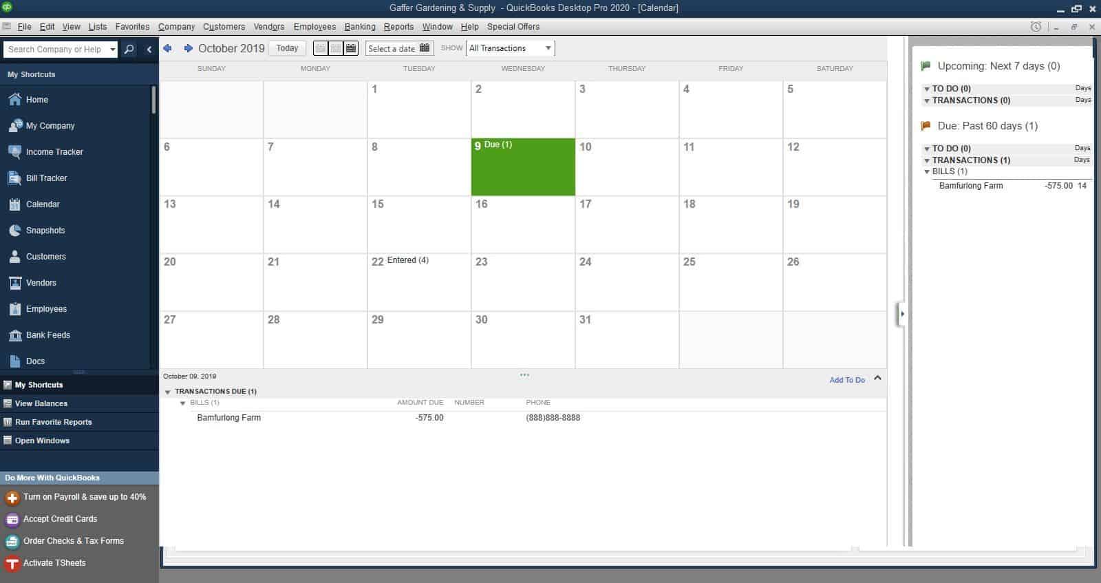 QuickBooks Desktop Pro 2020 Calendar