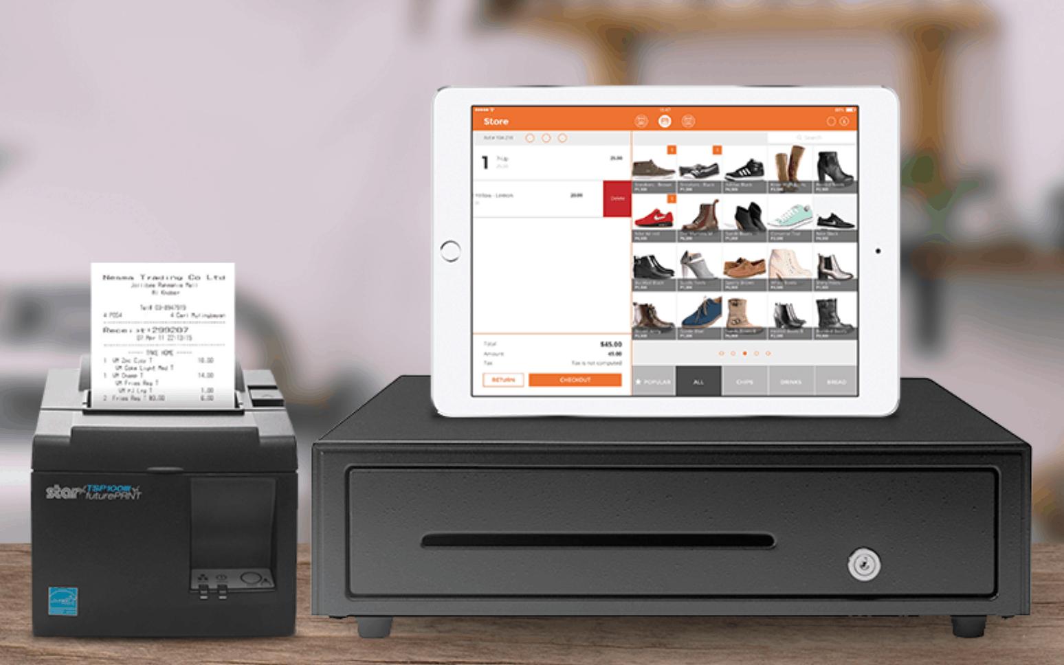 imonggo ipad hardware setup with receipt printer, cash drawer