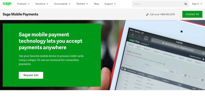 sage mobile payments website screenshot