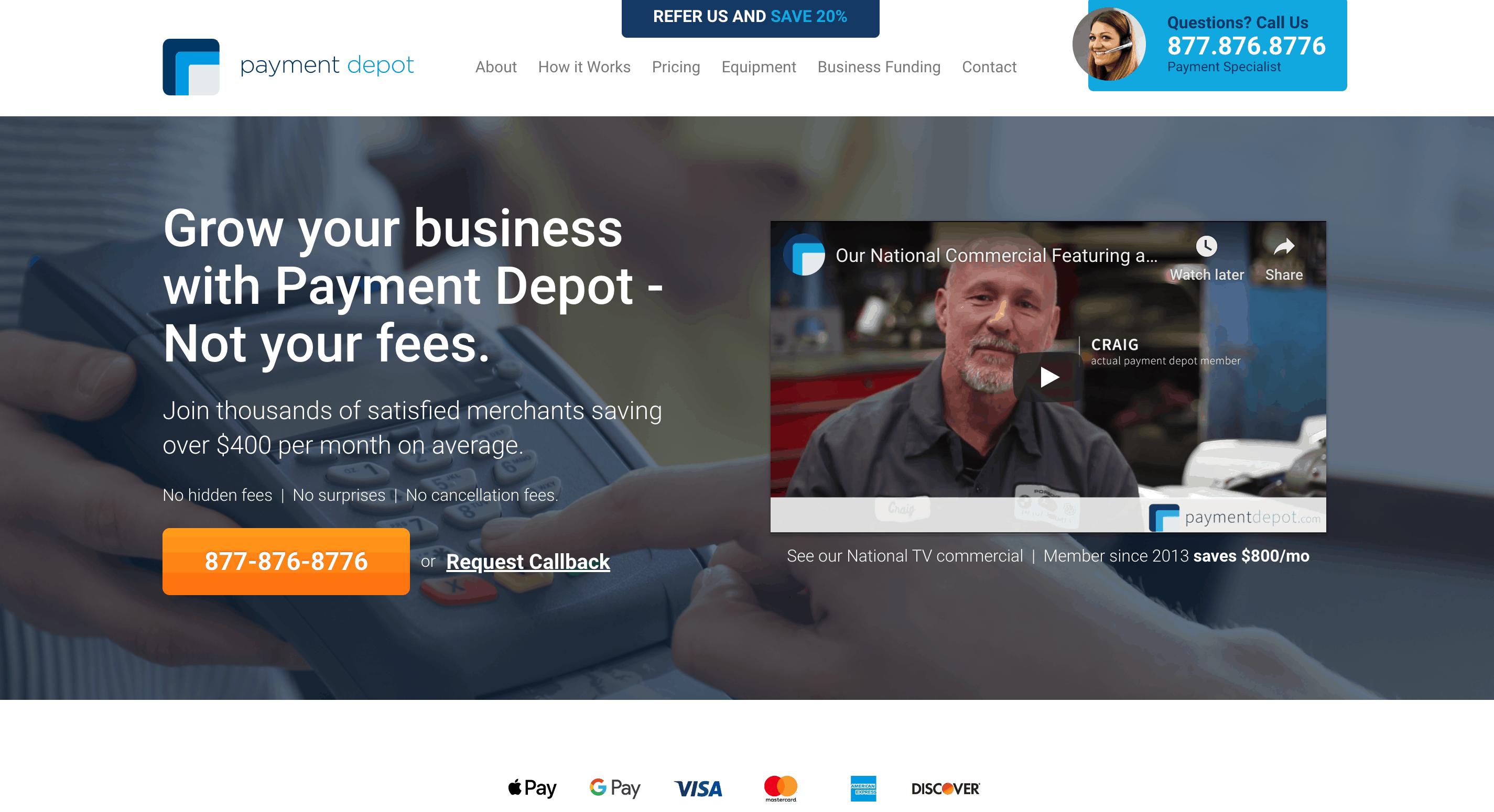 payment depot homepage screenshot