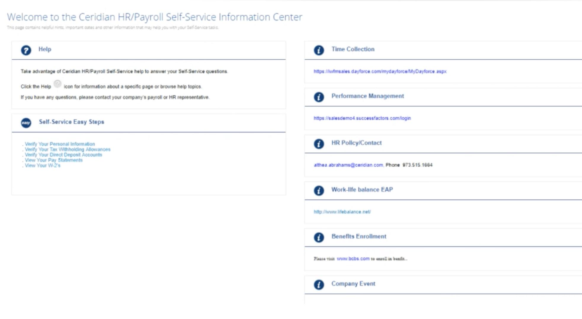 Ceridian HR Payroll employee service portal