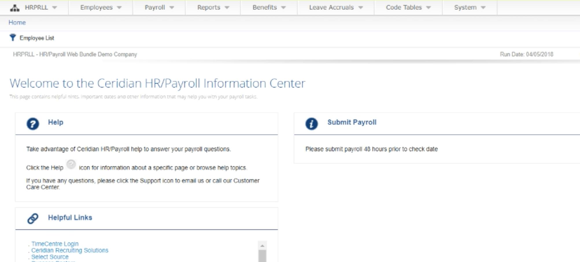 Ceridian HR Payroll dashboard