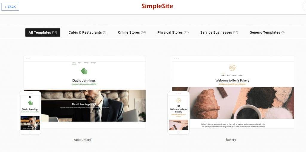 simplesite templates
