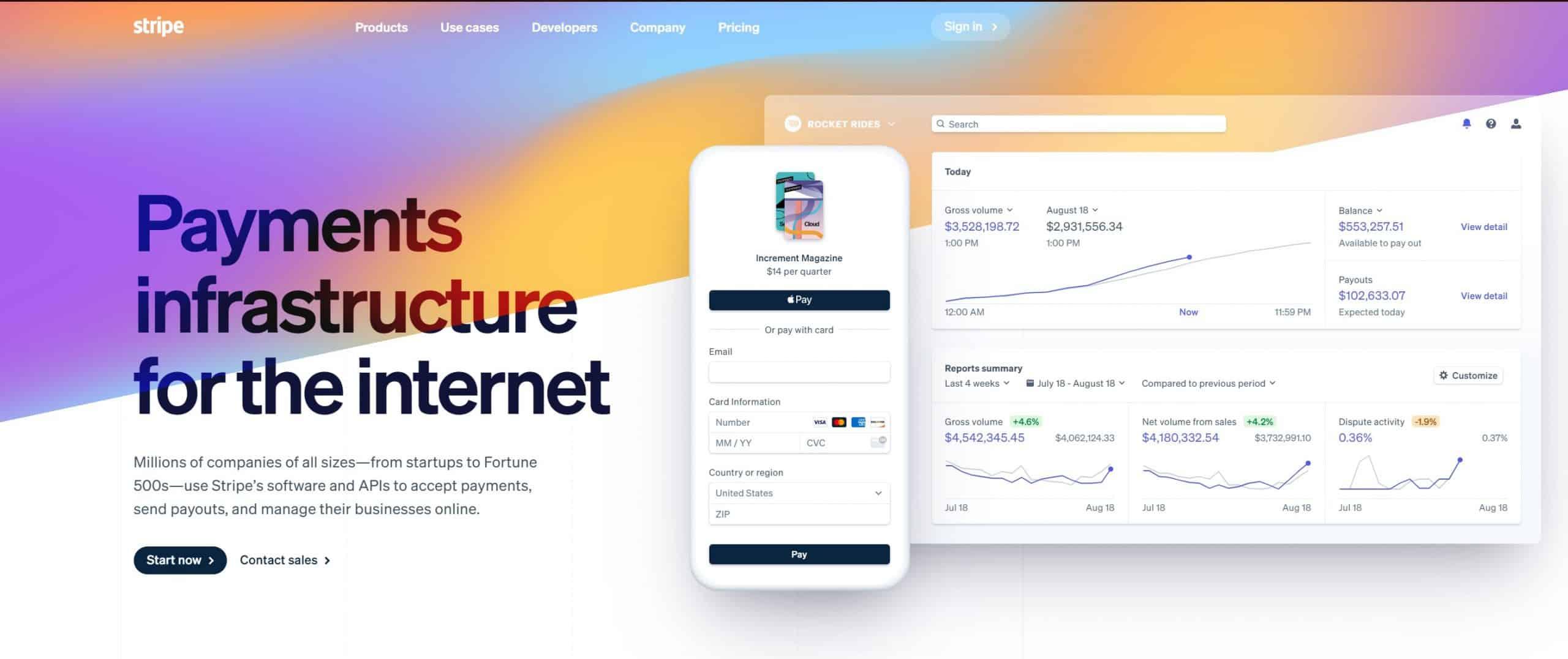 Stripe website screenshot