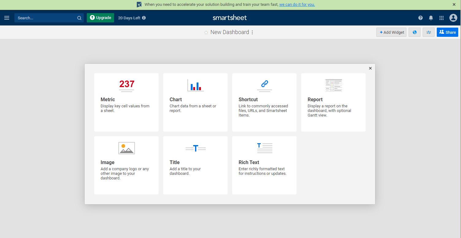 Smartsheet dashboard