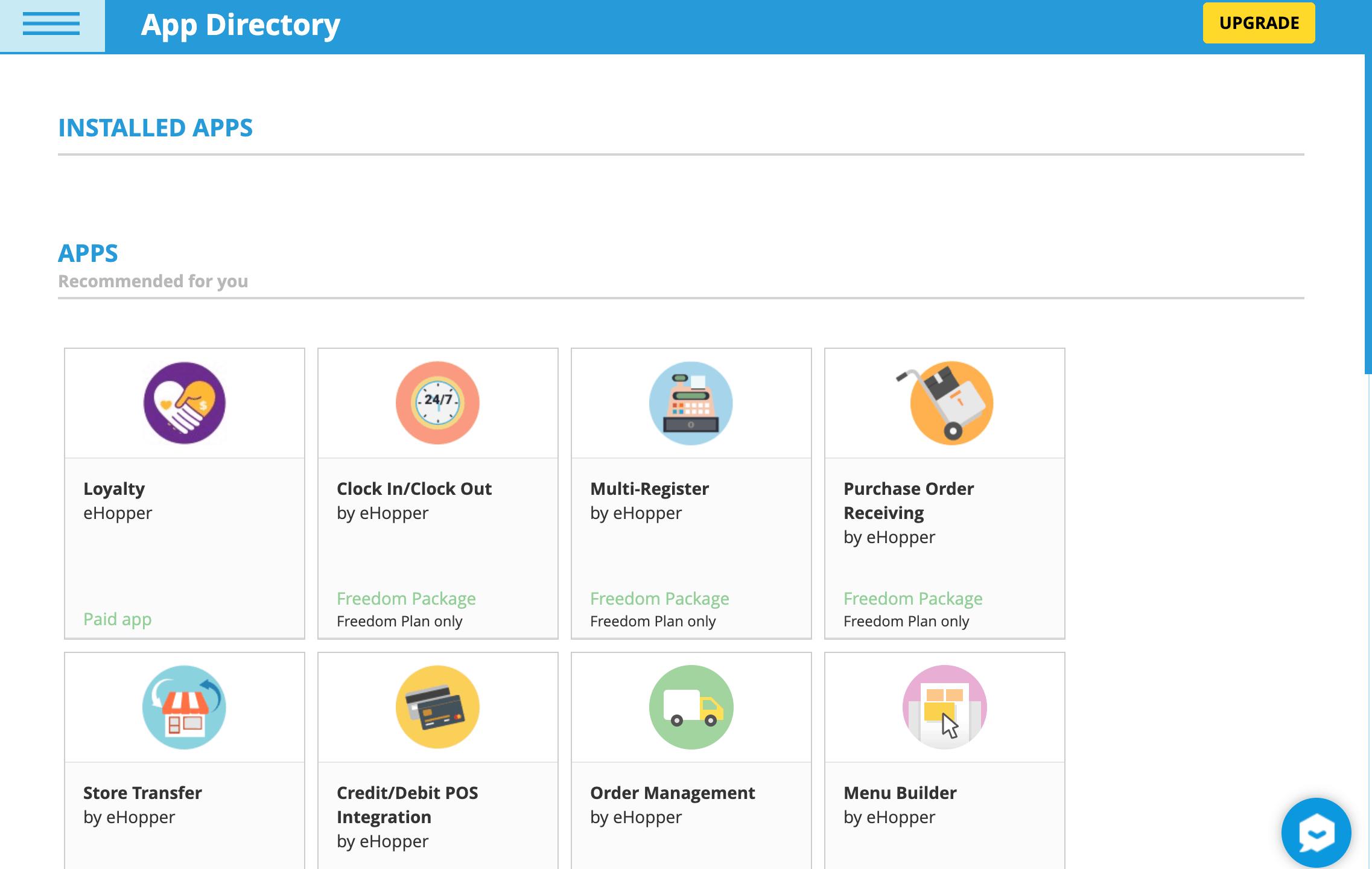 ehopper pos app store integrations