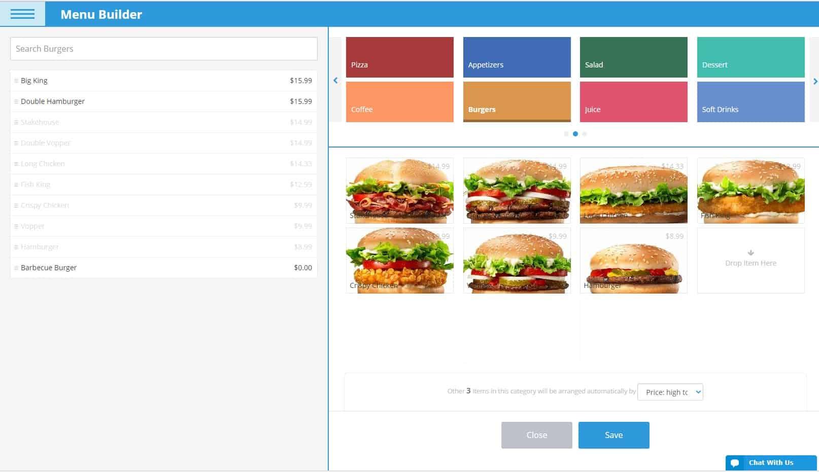 ehopper pos menu builder