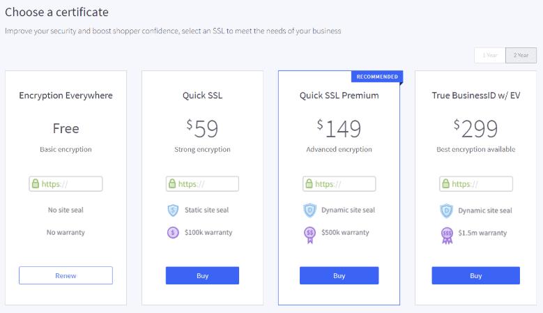 BigCommerce Premium SSL Certificates