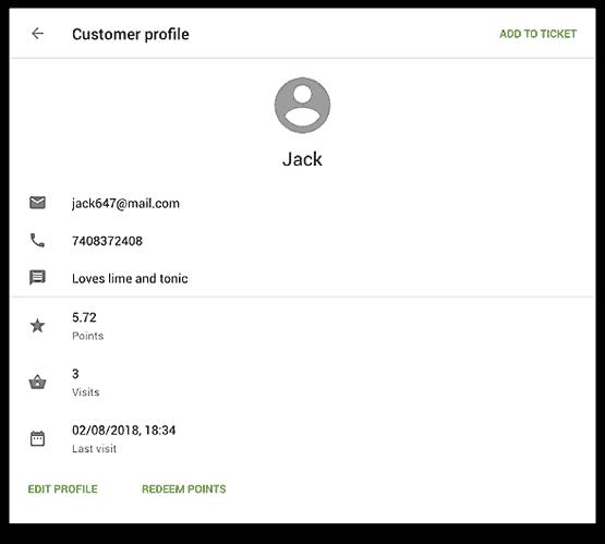 loyverse customer information screen