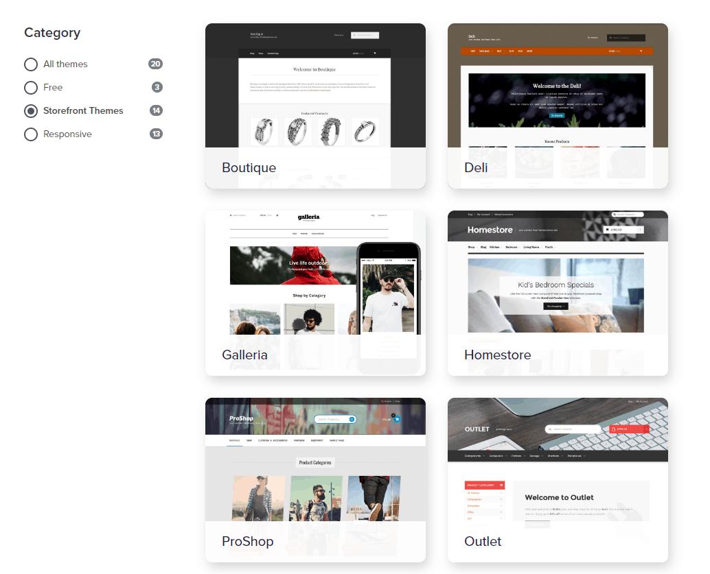 Screengrab of WooCommerce theme samples
