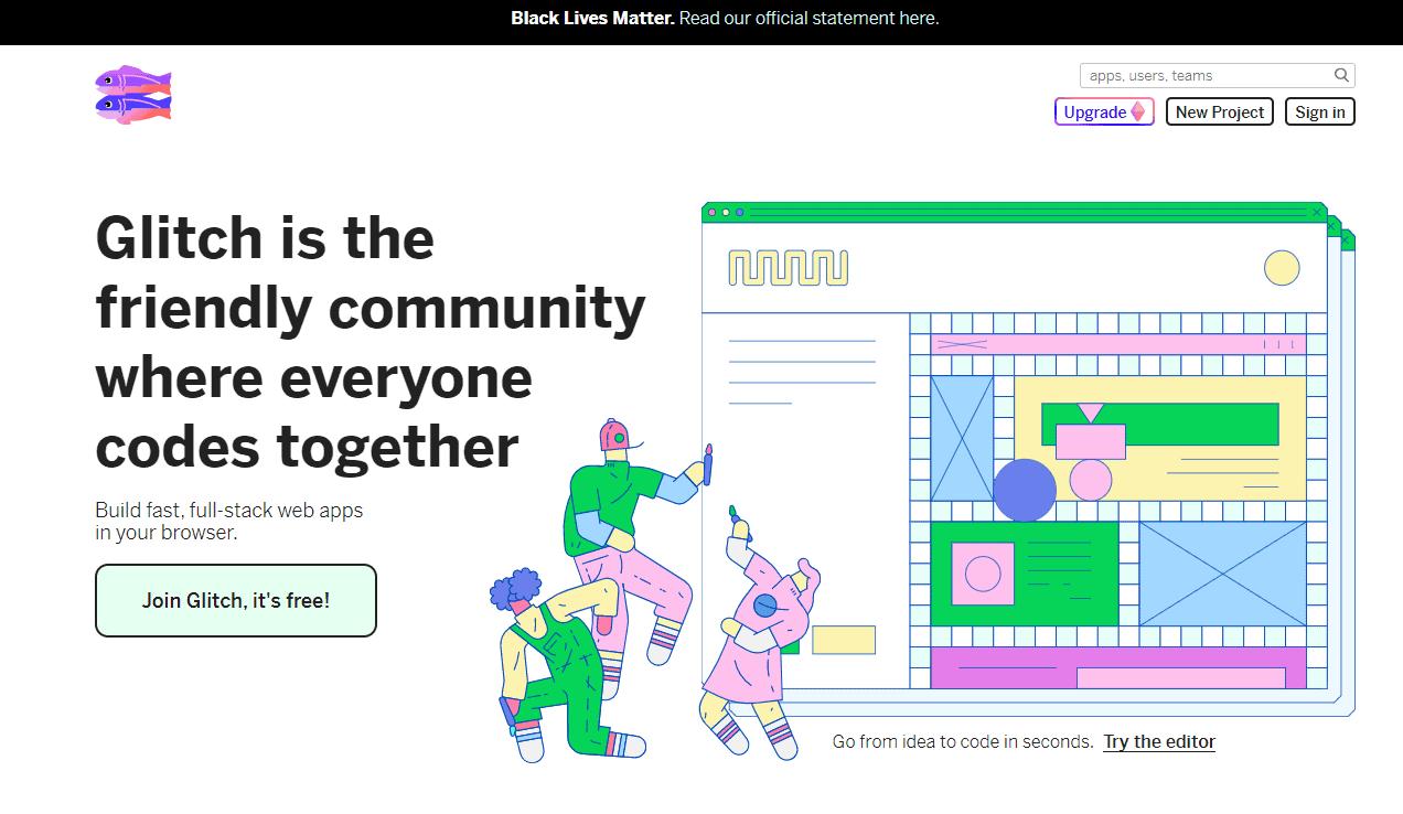 Screengrab of Glitch.com