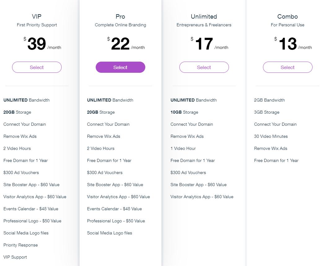 Screengrab of Wix Pricing