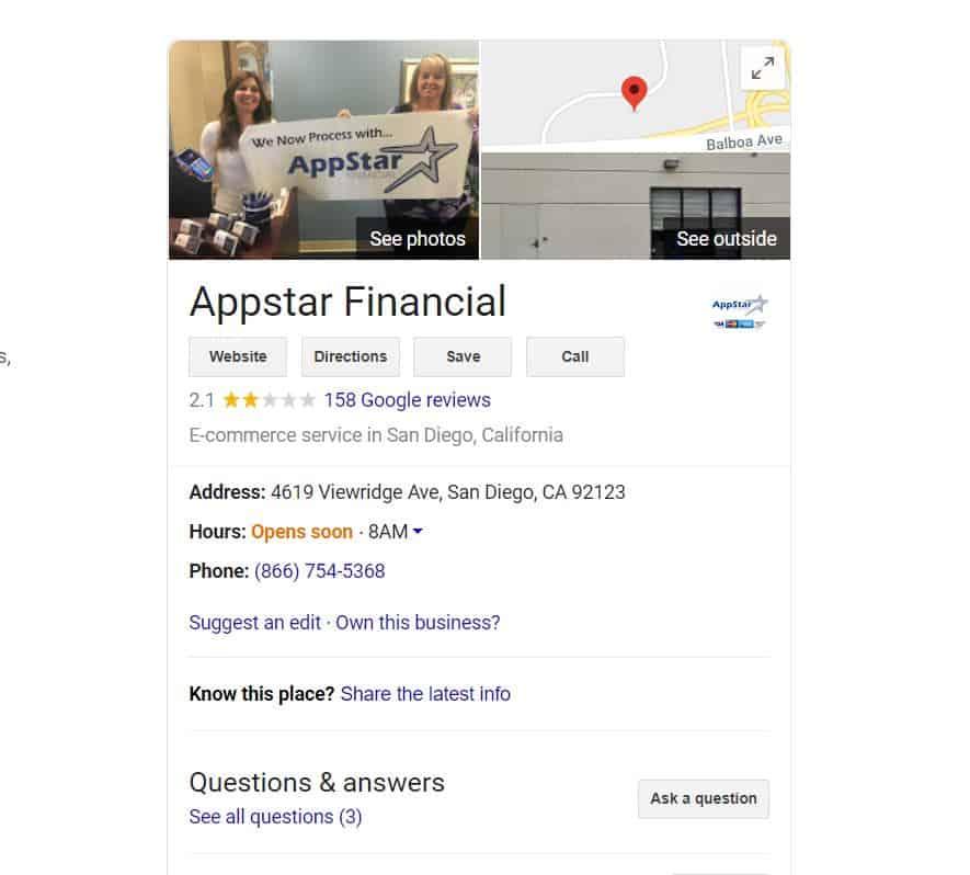 AppStar Financial Google Reviews